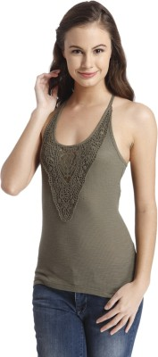Only Casual Sleeveless Embroidered Women's Green Top