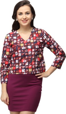 Vodka Fashion India Casual 3/4 Sleeve Printed Women's Purple Top