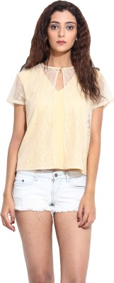 Pera Doce Casual Short Sleeve Solid Women,s Yellow Top