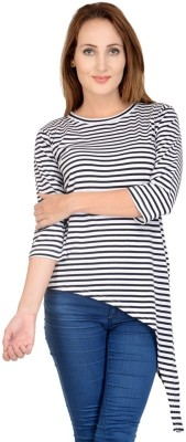 Raabta Fashion Casual 3/4 Sleeve Striped Women's Multicolor Top