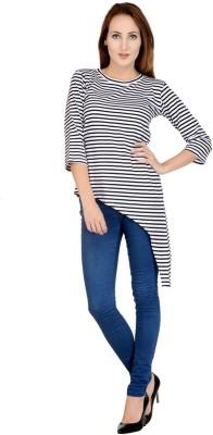 Raabta Fashion Casual 3/4 Sleeve Striped Women's White Top