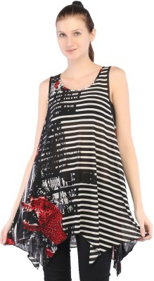 Ffashionstylus Party Sleeveless Printed Women's Black Top