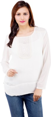 Centiaro Casual Full Sleeve Solid Women's White Top