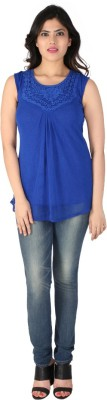 Dovekie Casual Sleeveless Self Design Women's Blue Top