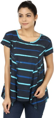 Modimania Casual Short Sleeve Striped Women's Blue Top