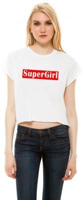 Monzter Popcornz Casual Short Sleeve Graphic Print Women's White Top