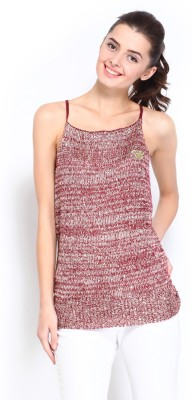Kook N Keech Casual Sleeveless Solid Women's Maroon Top at flipkart