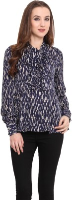 Blue Sequin Casual Full Sleeve Printed Women's Blue, Beige Top