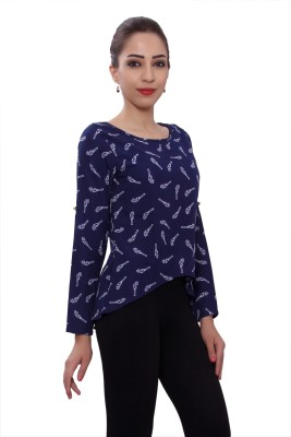 Tinge of Colors Casual Full Sleeve Printed Women's Blue Top