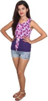 Vanya Enterprises Casual Sleeveless Floral Print Women's Pink, Purple Top