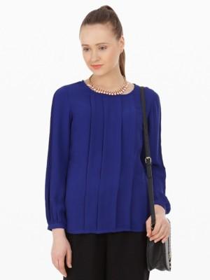 American Swan Casual Full Sleeve Printed Women's Blue Top