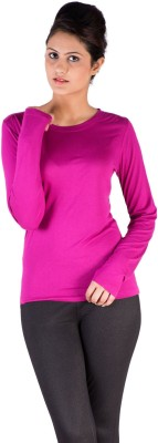 De Moza Casual Full Sleeve Solid Women's Purple Top