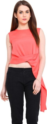 Ridress Casual Sleeveless Solid Women's Pink Top