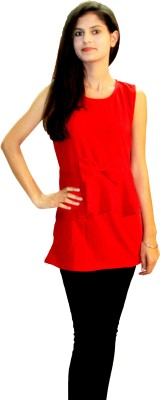 Shonaa Casual Sleeveless Solid Women's Red Top