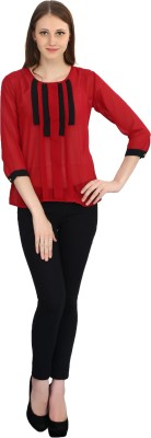 Rakshita,s Collection Casual 3/4 Sleeve Solid Women,s Maroon Top