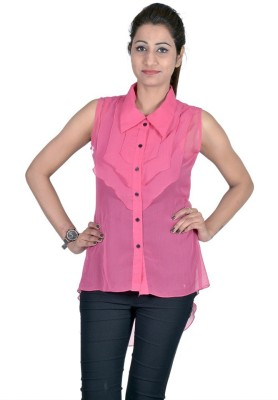 Indicot Casual, Party Sleeveless Solid Women's Pink Top