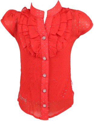 Pami Party Short Sleeve Solid Baby Girl's Red Top