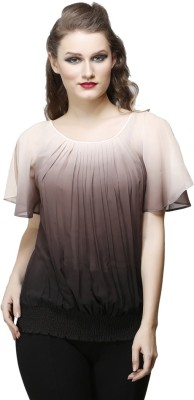 Desert Rose Party Short Sleeve Solid Women's Brown Top