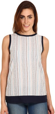 Miss Chick Formal Sleeveless Striped Women's Multicolor Top