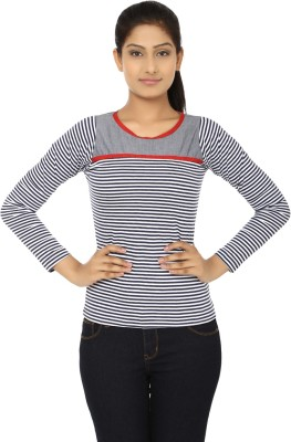 Aussehen Casual Full Sleeve Striped Women's Blue, White Top