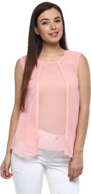 Pinwheel Party Sleeveless Solid Women's Pink Top