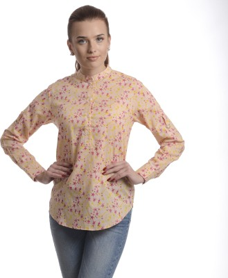Stoee Casual Full Sleeve Printed Women's Yellow Top