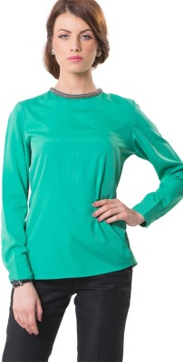 The Office Walk Formal Full Sleeve Solid Women's Green Top