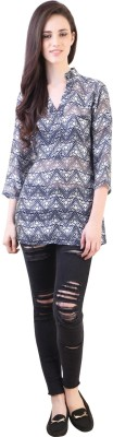 Vvine Party, Casual 3/4 Sleeve Printed Women's White, Blue Top