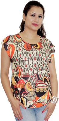 Pindia Printed Women's Round Neck Multicolor T-Shirt