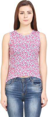 Wear Berry Party Sleeveless Printed Women's Pink Top