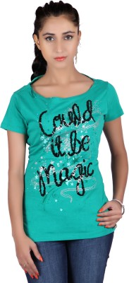 Raves Casual, Sports, Party Short Sleeve Printed Women's Green Top