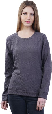 Merch21 Casual Full Sleeve Chevron Women's Grey Top