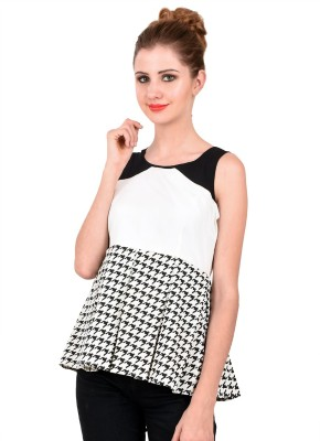 LA ATTIRE Casual Sleeveless Houndstooth Women's Multicolor Top