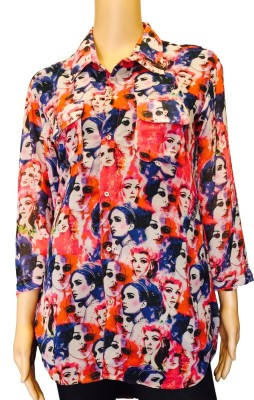 FASIION Casual 3/4 Sleeve Graphic Print Women's Multicolor Top