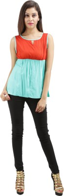 Sunshine Casual Sleeveless Solid Women's Green Top