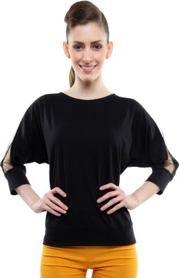 Miss Chase Casual 3/4 Sleeve Solid Women's Black Top