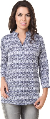 ASH Casual 3/4 Sleeve Printed Women's Blue Top