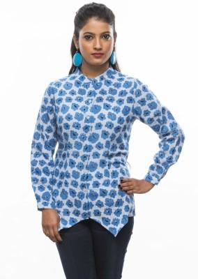 Moda Vastra Casual Full Sleeve Floral Print Women's Blue Top