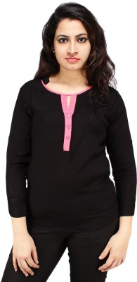 Styles Clothing Casual 3/4 Sleeve Solid Women's Black Top