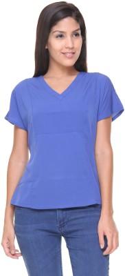 Alibi By Inmark Casual Short Sleeve Solid Women,s Dark Blue Top