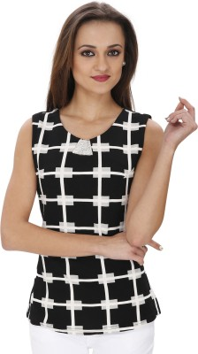 Svt Ada Collections Casual Sleeveless Checkered Women's Black Top