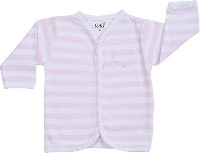 Lula Casual Full Sleeve Striped Baby Girl's Pink Top