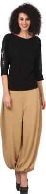 FashionExpo Solid Women's Round Neck Black T-Shirt
