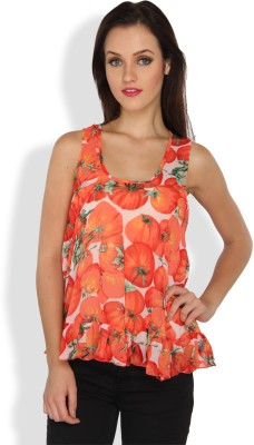 Ten on Ten Casual, Party Sleeveless Printed Women's Multicolor Top