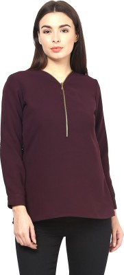 Martini Casual Full Sleeve Solid Women's Purple Top
