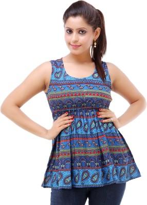 Kashana Fashions Party Sleeveless Printed Women's Blue Top