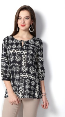 Van Heusen Casual 3/4 Sleeve Printed Women's Black Top