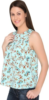 The Apparel Quotient Casual Sleeveless Floral Print Women's Light Blue Top