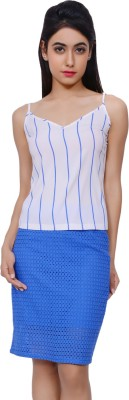 Lamora Casual Sleeveless Striped Women's Blue, White Top
