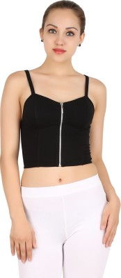 MA Casual Sleeveless Solid Women's Black Top
